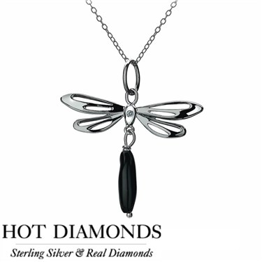 Hot Diamonds Dragonfly Black Onyx Necklace