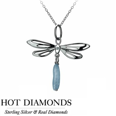 Hot Diamonds Dragonfly Blue Necklace