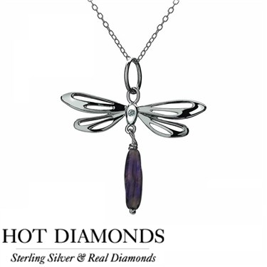 Hot Diamonds Dragonfly Amethyst Necklace