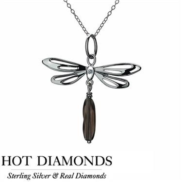 Hot Diamonds Dragonfly Smoky Quartz Necklace