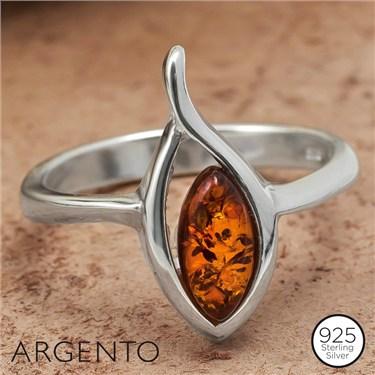 Argento Cognac Amber Loop Ring