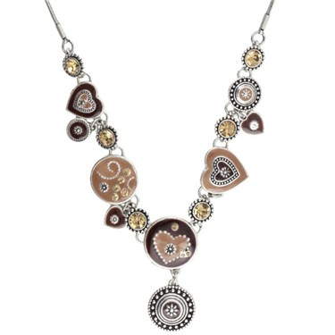 Karma Brown Ethnic Hearts Necklace