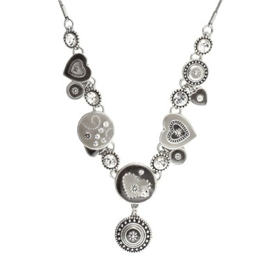 Karma Grey Ethnic Hearts Necklace