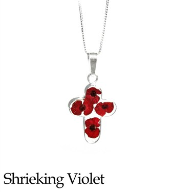 Shrieking Violet Poppy Cross Necklace