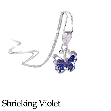 Shrieking Violet Forget Me Not Butterfly Necklace