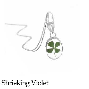 Shrieking Violet Clover Oval Necklace