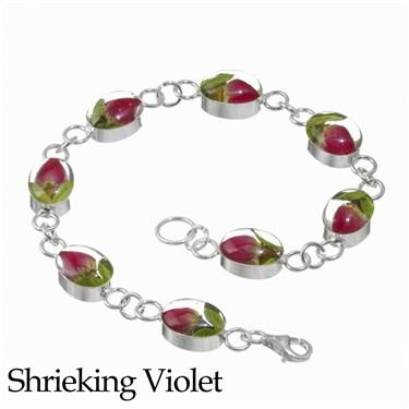 Shrieking Violet Rosebud Oval Necklace