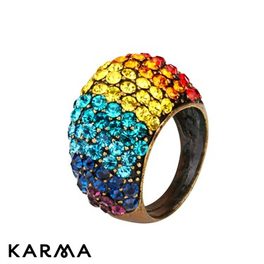 Karma Statement Crystal Dome Ring