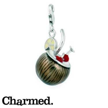 Charmed Coconut Cocktail Charm - Click to view larger image