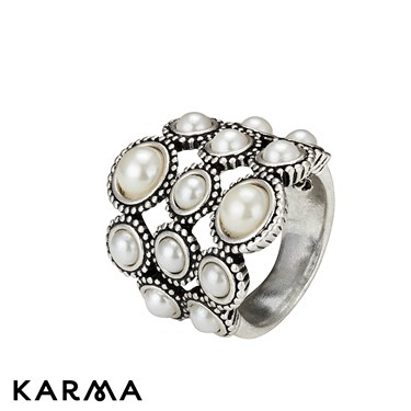 Karma Oxidised Pearl Ring