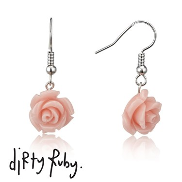 Dirty Ruby Pink Floral Frenzy Rose Drop Earrings