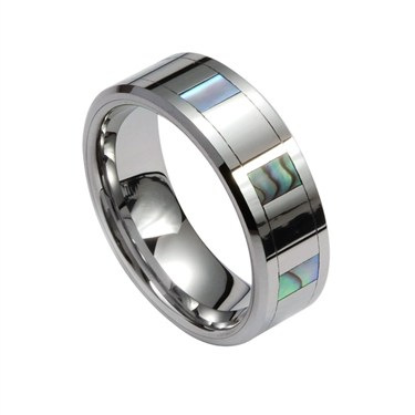 Guise Tungsten Ring with MOP Squares