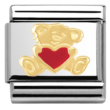 Nomination Bear With Heart Charm   - Click to view larger image