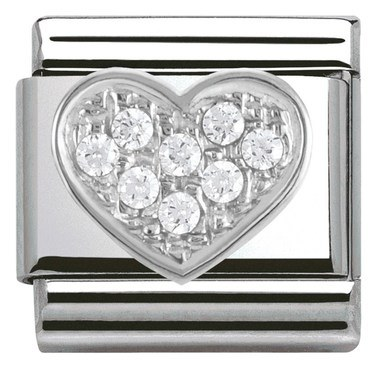 Nomination Cubic Zirconia Heart Charm  - Click to view larger image
