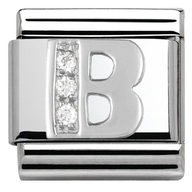 Nomination Cubic Zirconia B Charm  - Click to view larger image