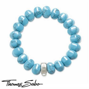 Thomas Sabo Turquoise Charm Carrier Bracelet - Click to view larger image