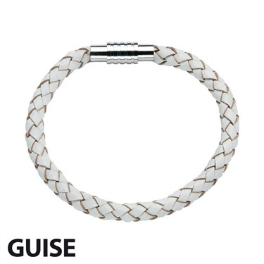 Guise White Leather Bracelet  - Click to view larger image