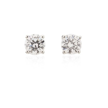 Argento 5.5mm Cubic Zirconia Stud Earrings  - Click to view larger image