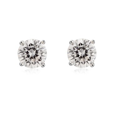 Argento 6mm Cubic Zirconia Stud Earrings  - Click to view larger image