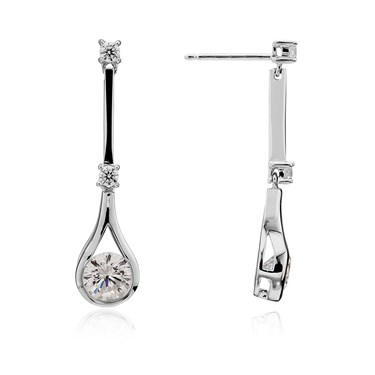 Argento Long Cubic Zirconia Teardrop Earrings  - Click to view larger image