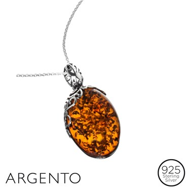 Argento Amber Filigree Necklace