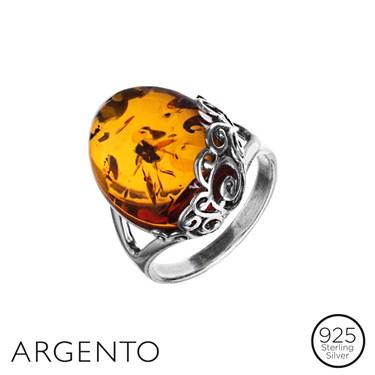 Argento Amber Filigree Ring