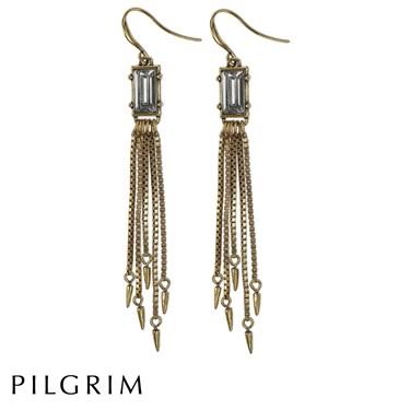 PILGRIM Large Crystal Gold Earings