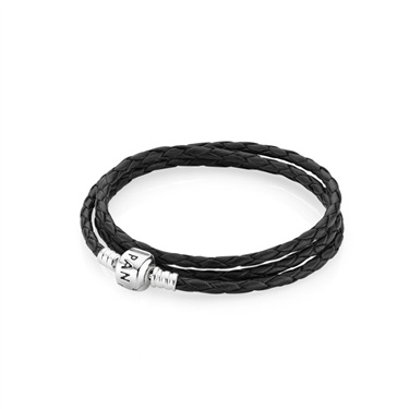 PANDORA Black Triple Woven Leather Bracelet