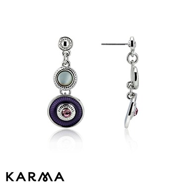 Karma Purple Circular Enamel Earrings