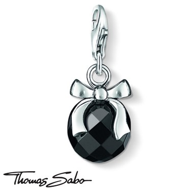 Thomas Sabo Onyx Bow Charm  - Click to view larger image