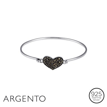 Argento Outlet Marcasite Heart Bangle