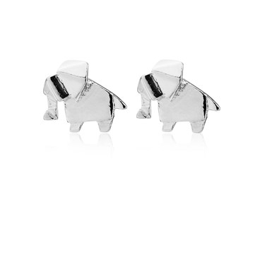 Argento Origami Elephant Earrings  - Click to view larger image