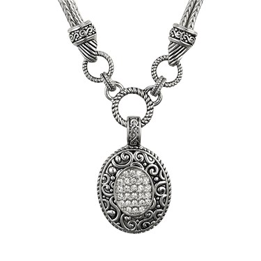 August Woods Pavé Oval Necklace