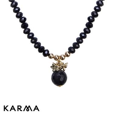 Karma Black Bead Drop Necklace