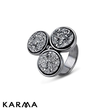 August Woods Raw Elements Grey Stardust Circles Ring