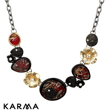 Karma Red Fabric Pattern Necklace