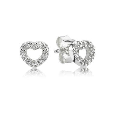 Pandora Pavé Heart Earrings  - Click to view larger image