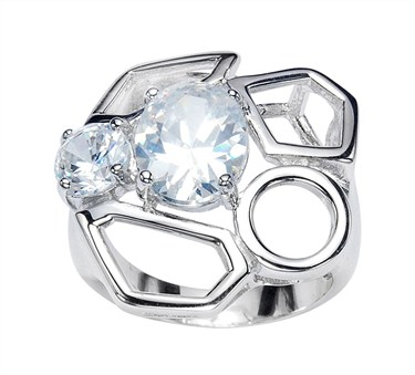 Argento Large Silver Geometric Ring