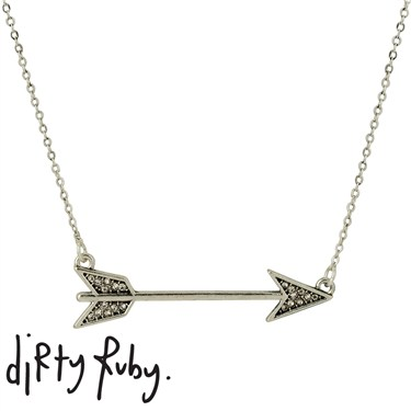 Dirty Ruby Silver Straight Arrow Necklace
