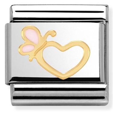 Nomination Pink Enamel Butterfly Heart Charm