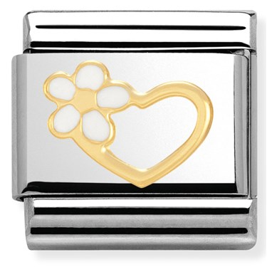 Nomination White Enamel Flower Heart Charm  - Click to view larger image