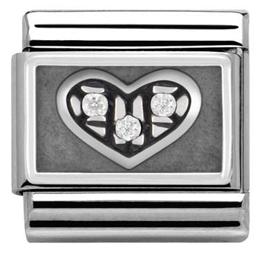 Nomination White Crystal Oxidised Heart Charm