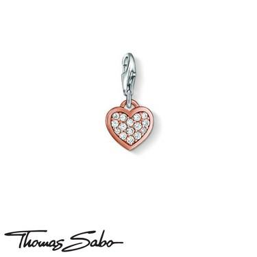 Thomas Sabo Rose Gold Cubic Zirconia Heart Charm  - Click to view larger image