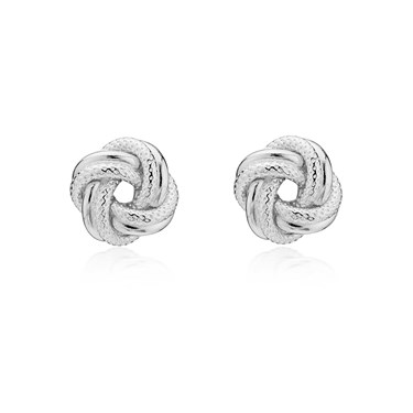 Argento Silver Knot Stud Earrings  - Click to view larger image