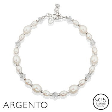 Argento Silver Pearl Crystal Bracelet  - Click to view larger image
