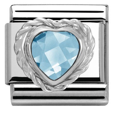 Nomination Blue Crystal Heart Charm   - Click to view larger image