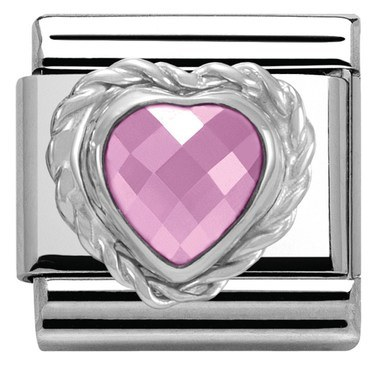 Nomination Pink Crystal Heart Charm   - Click to view larger image