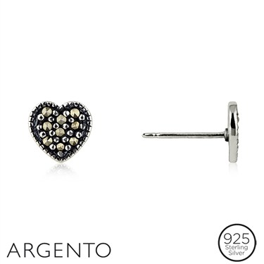 Argento Marcasite Heart Stud Earrings  - Click to view larger image