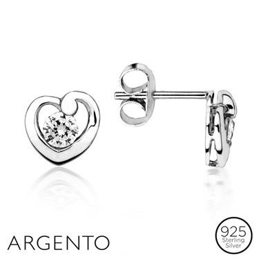 Argento Solitaire Irregular Heart CZ Earrings
