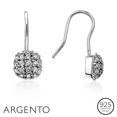 Argento Solitaire Pavé Drop Earrings  - Click to view larger image